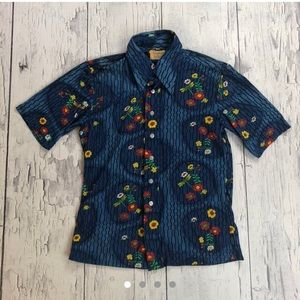 Vintage 70's floral print button down shirt blue